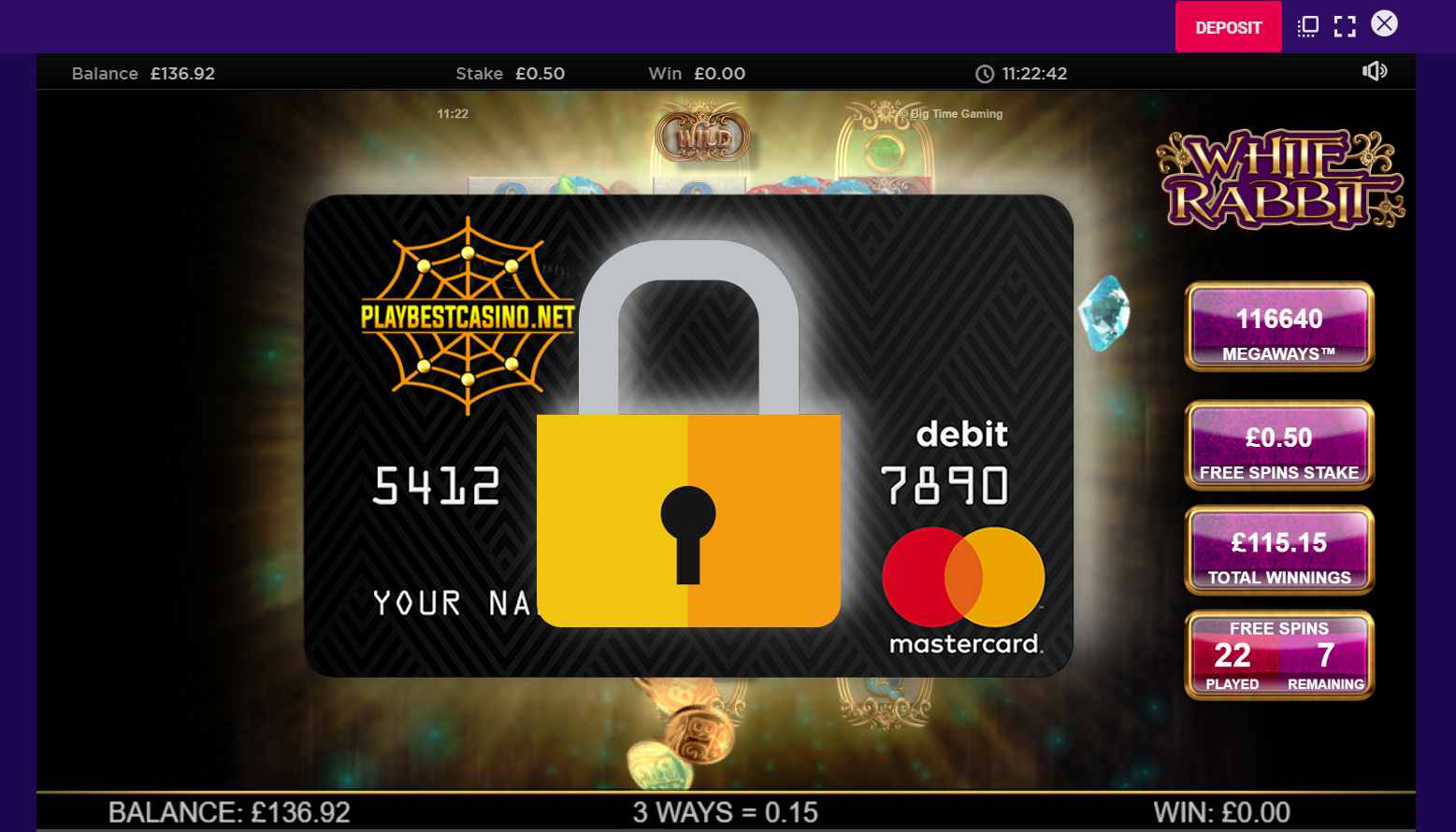The lock on the gaming addiction and payment card is depicted in this snapshot.