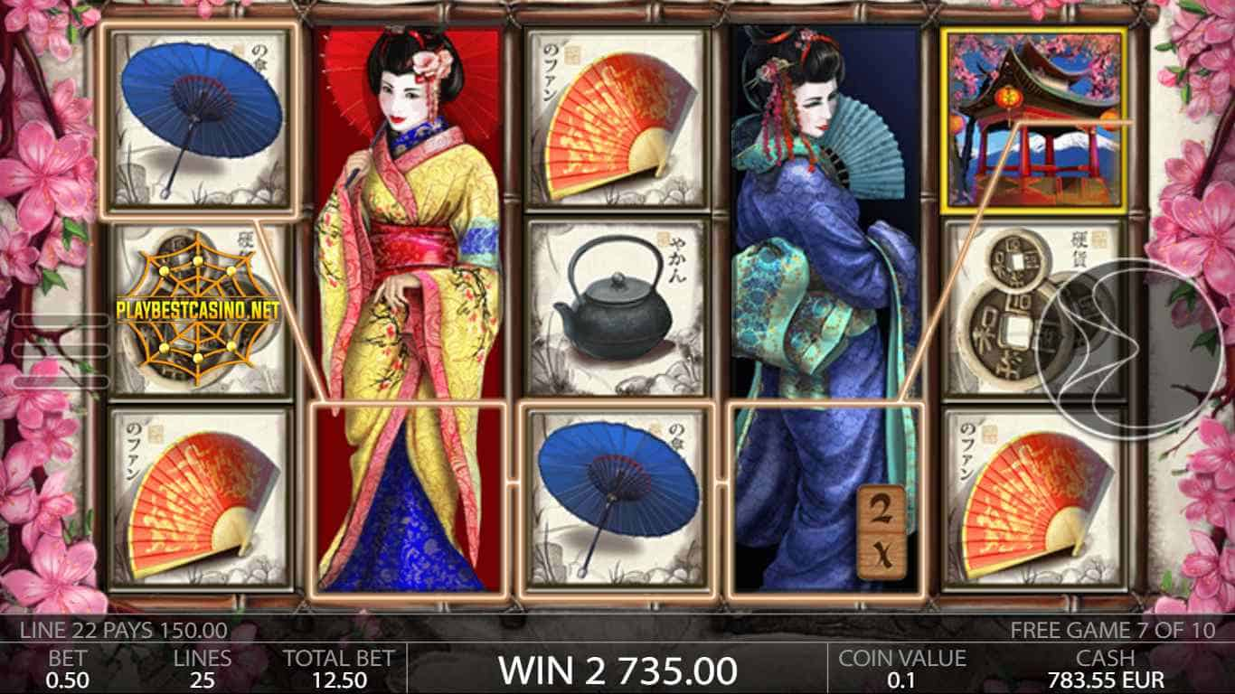Geisha endorphina Big Win can be seen in this image.
