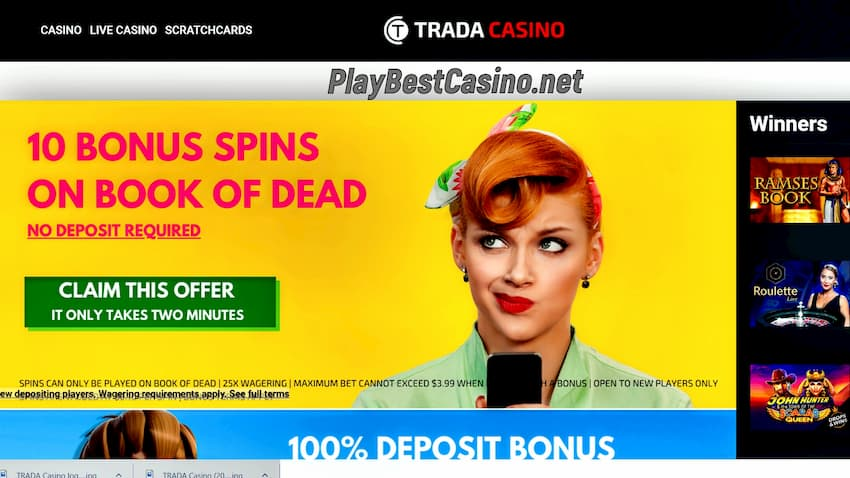 Trada Casino 10 Free Spins No Deposit Bonus is on photo.