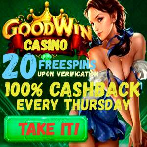 Goodwin Casino and 100% cashback can be seen on this image.