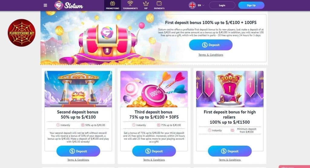 Slotum casino bonuses for playbestcasino.net are depicted in the picture.