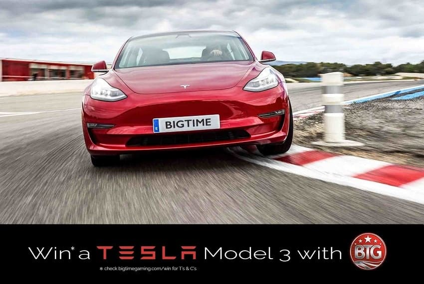 The Big Time Gaming (BTG) TESLA Model 3 for playbestcasino.net is shown in this image.