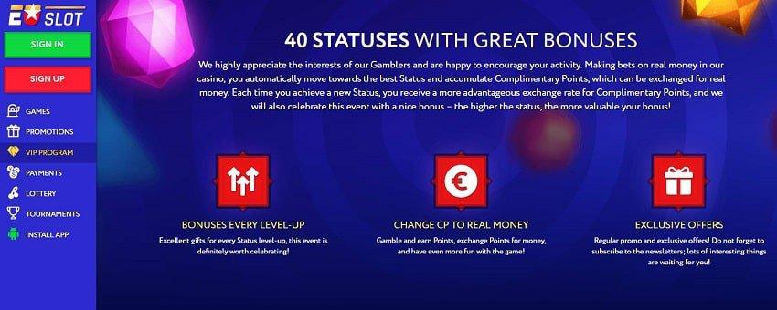EUslot VIP программа представлена на снимке для блога о казино Playbestcasino.net