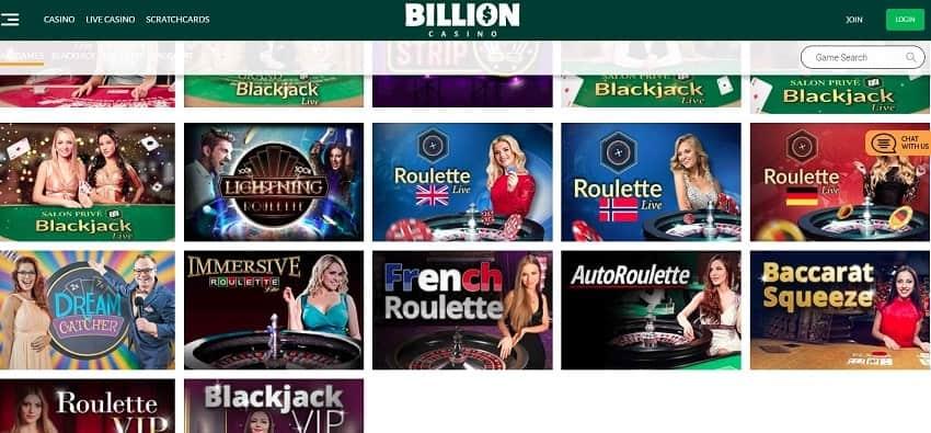 Live BILLION CASINO can be seen on this image. Живое казино представлено на этом снимке для блога о казино playbestcasino.net