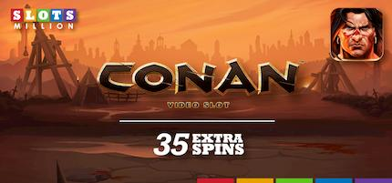 Slotsmillion: 35 extra spins on Conan video slot.