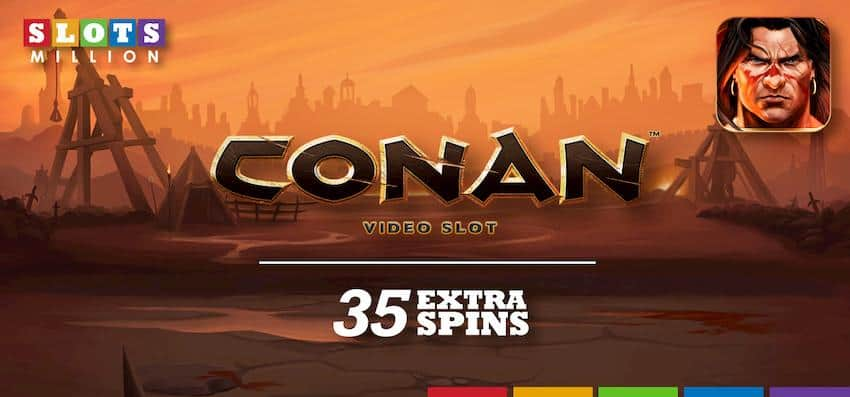 35 extra spins on Conan Video Slot by NetEnt can be seen on this image.