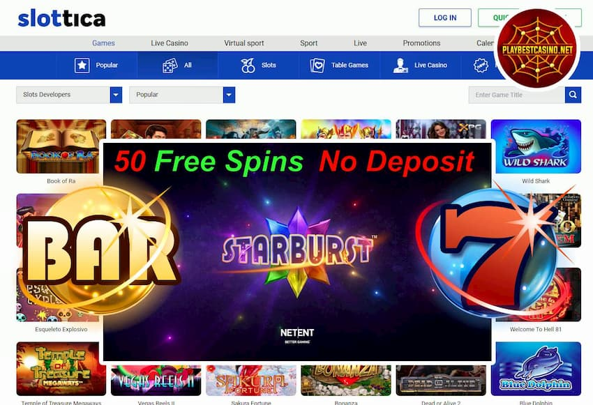 Slottica Casino (New Review 2020): Get 50FS in Starburst (No Deposit) can be seen on this image!