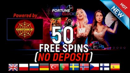 FORTUNE CLOCK Casino (2020) Review and 50 Spins No Deposit are in this picture.
