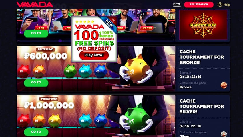 Vavada casino and free spins without deposit are in the picture.