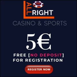 All Rigt Casino 5 EURO BONUS PLAYBESTCASINO.NET is on photo.