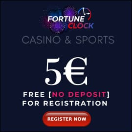 FORTUNE CLOCK CASINO 5 EURO BONUS PLAYBESTCASINO.NET is on photo.