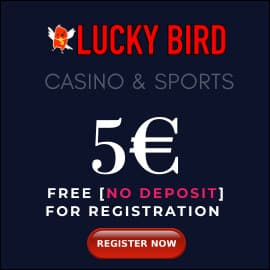 Lucky Bird Casino 5 EURO BONUS PLAYBESTCASINO.NET is on photo.