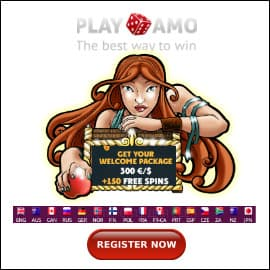 Playamo Casino Welcome Bonus pack is on photo.