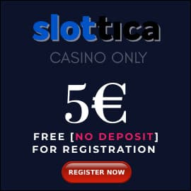 Slottica Casino 5 EURO BONUS PLAYBESTCASINO.NET is on photo.