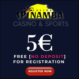 Spinamba casino 5 EURO BONUS PLAYBESTCASINO.NET is on photo.