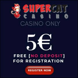 Super Cat Casino 5 EURO BONUS PLAYBESTCASINO.NET is on photo.