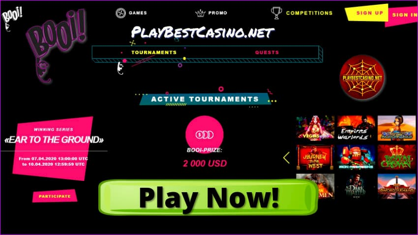 Booi Casino Active tournaments page for PlayBestCasino.net are on photo.