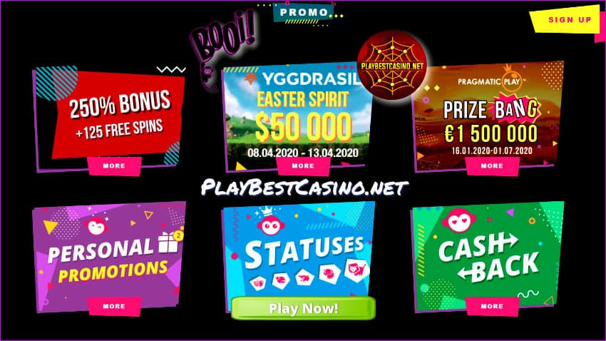 Booi Casino Promo Bonuses page for PlayBestCasino.net is on photo.