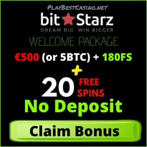 Free spins No Deposit and Welcome Bonus in Bitstarz Casino for Playbestcasino.net is on photo.