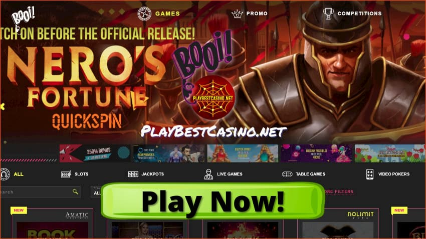 Nero's Fortune Quickspin new game before release in Booi Casino is on photo.