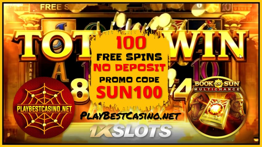 1XSLOTS Casino (2020) Review and 100 Spins No Deposit are in the photo.