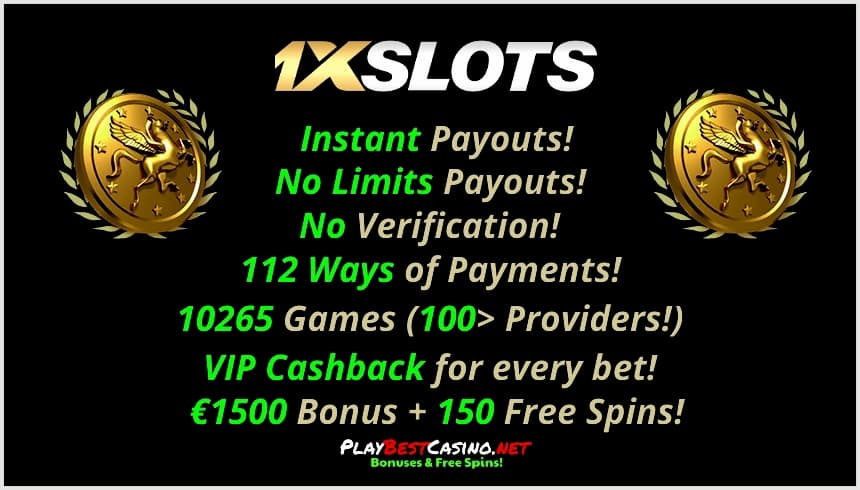 1XSLOTS Casino All bonusees and offers are on photo.