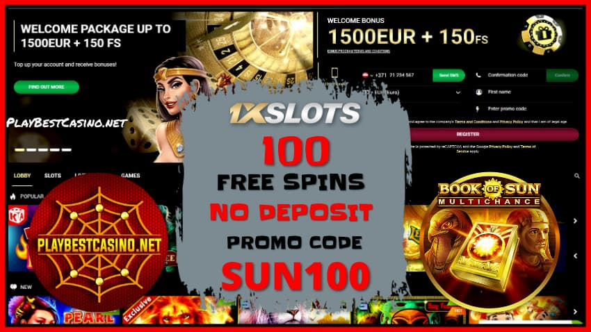 Welcome bonus pack in 1XSLOTS Casino is on photo.