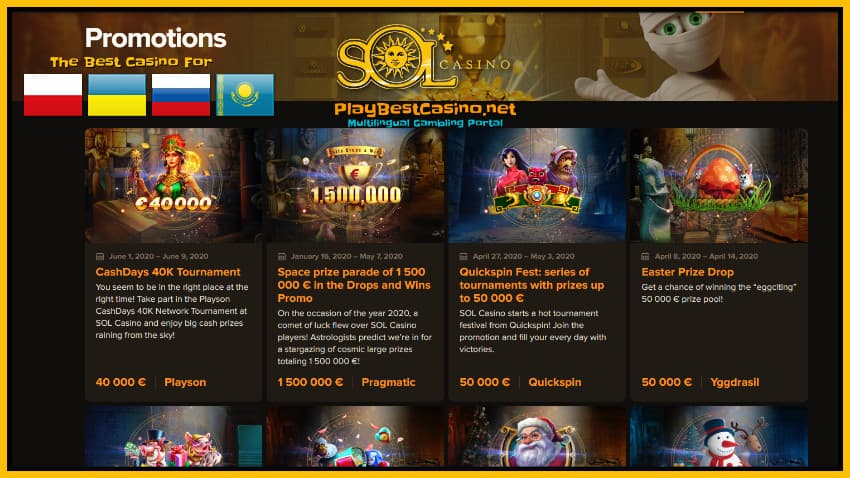 SOL Casino, tournaments and special promotions for players are in the photo.