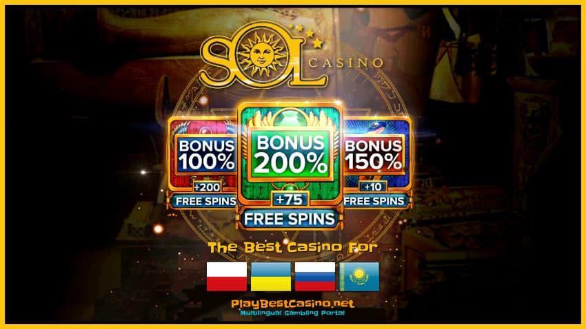 SOL Casino (2020) Review, Bonuses, Cashback and Player Reviews are in the photo.