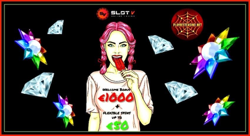 Slot V Casino (2020) Official Review and € 1000 Bonus is on the photo.