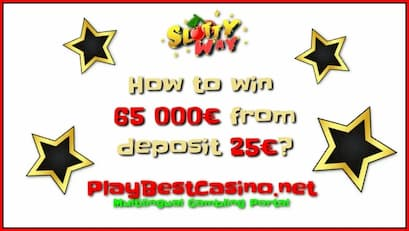How to Win 5M₽ (65000 €) With a Deposit of 25 € In SlottyWay The casino is in the photo.