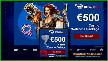 TornadoBet Casino: Review 2020 & Money Bonus € 5 (PLAYBEST5) is in the picture.