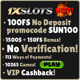 1xSlots No deposit 100fs bonus promo SUN100 is on photo.