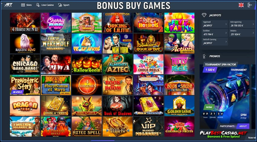 Bonus Buy Games at Jet Casino are on photo.